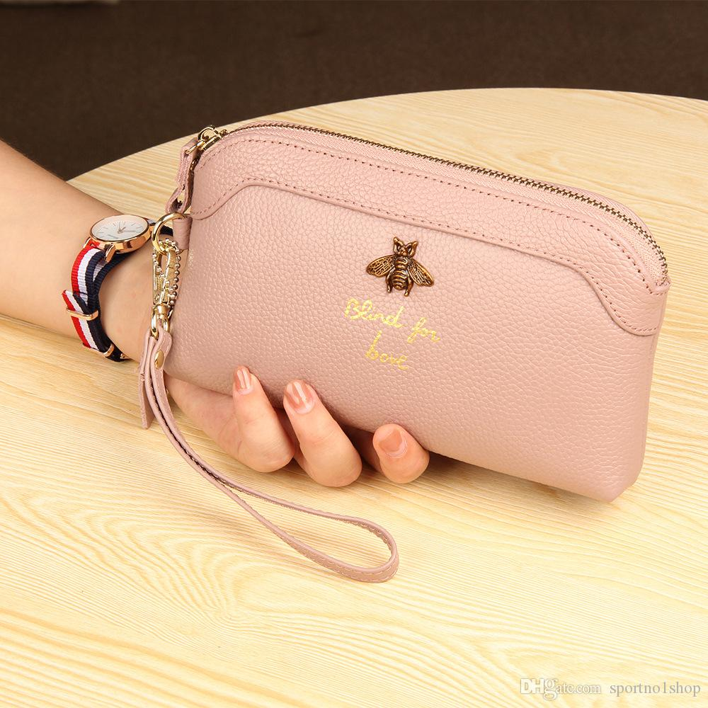 Hot Cowhide Brand Bee bills Wallet Fashion Female Clutch Bag Women Zipper Leather Shell Bag For Lover Lady Long Coins Card Money Bags