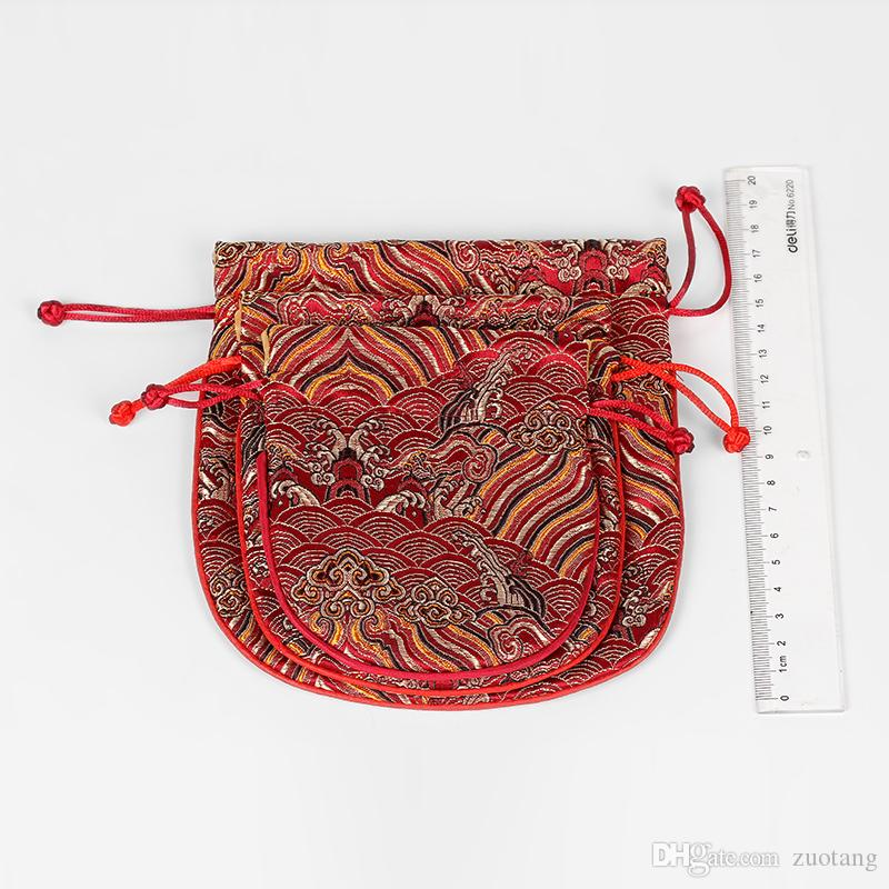 Retro Wave Large Silk Pouches Gift Bags Chinese Brocade Pouch Jewelry Packaging Bags Fabric Drawstring Makeup Bag with Lined 16x17.5cm