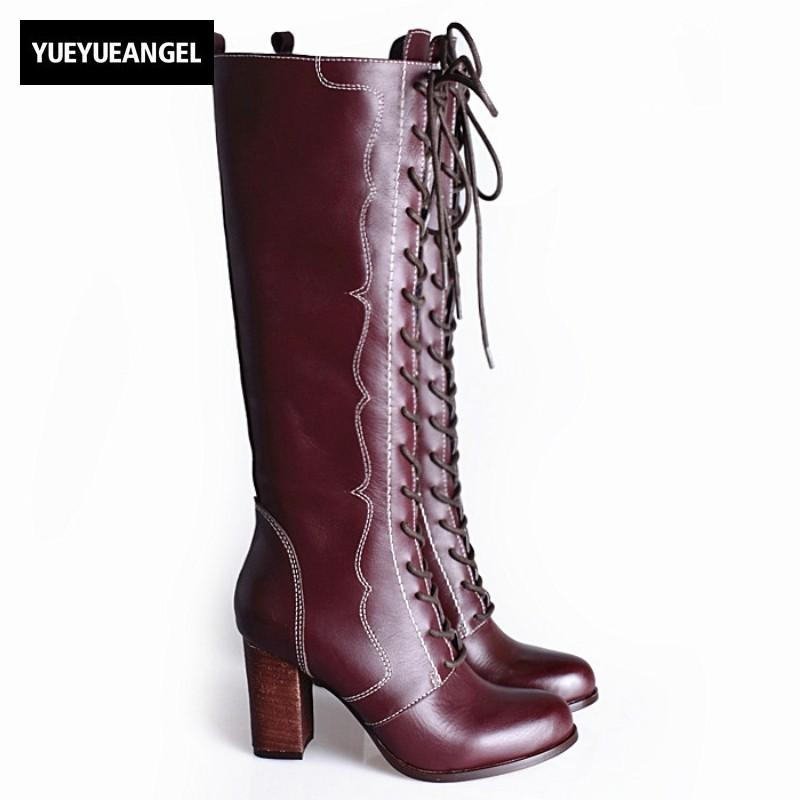 786edc6c8bea Women Long Shoes Top Brand Cow Leather Round Toe High Heels Lace Up Thigh  High Boots Quality Side Zipper Over The Knee Boots Desert Boots Wellies  From ...