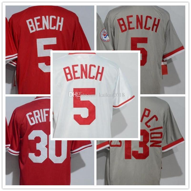 35b9fa427 2018 Men s 5 Johnny Bench 30 Ken 13 Dave Concepcion Grey White Red ...