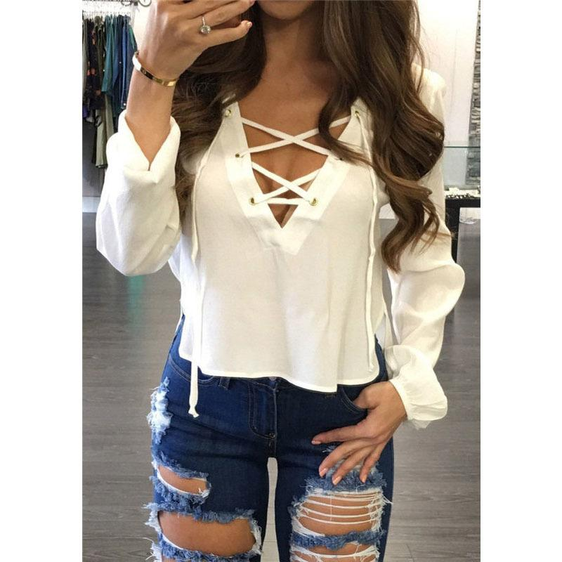 c8f201e85423 Drop Ship Fashion Casual Summer V-Neck Shirt Women Crop Top Ladies Long  Sleeve Loose Blouse Chiffon Tops Blusa Online with  24.29 Piece on  Feeling02 s Store ...