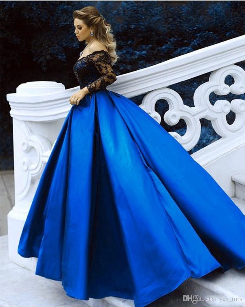 Großhandel 11 Grün Blau Ballkleid Abendkleider Schulterfrei Lange Ärmel  Pailletten Schwarzer Spitze Appliques Satin Plus Size Prom Kleider Party