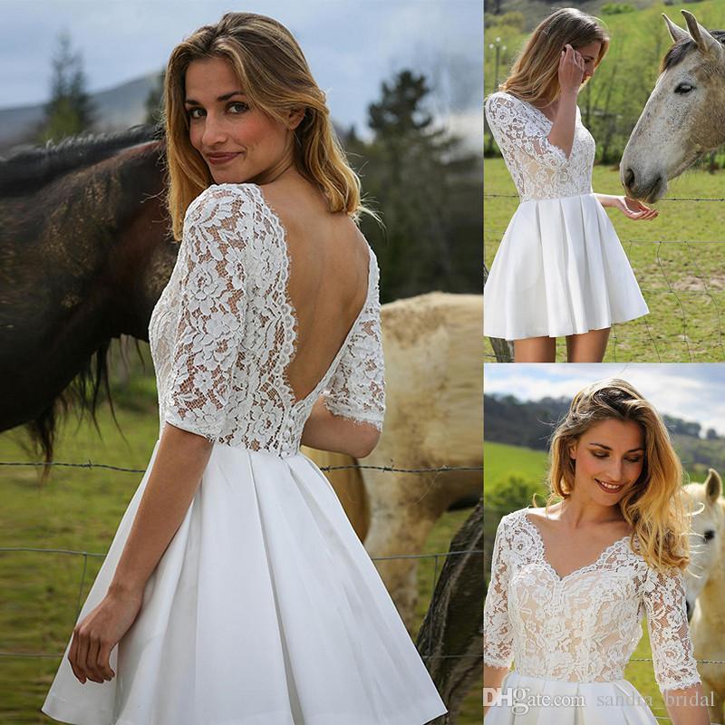 Discount 2018 Short Informal Wedding Dresses V Neck Lace Satin ...