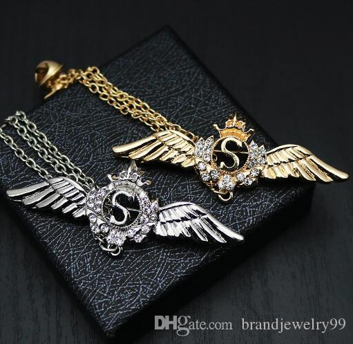 f6180752e1d 2019 High End Angle Wings Lapel Pins Brooches Clear Crystal Rhinestone Chain  Boutonniere Brooch Pin For Women Men Suit Accessory Fashion Jewelry From ...