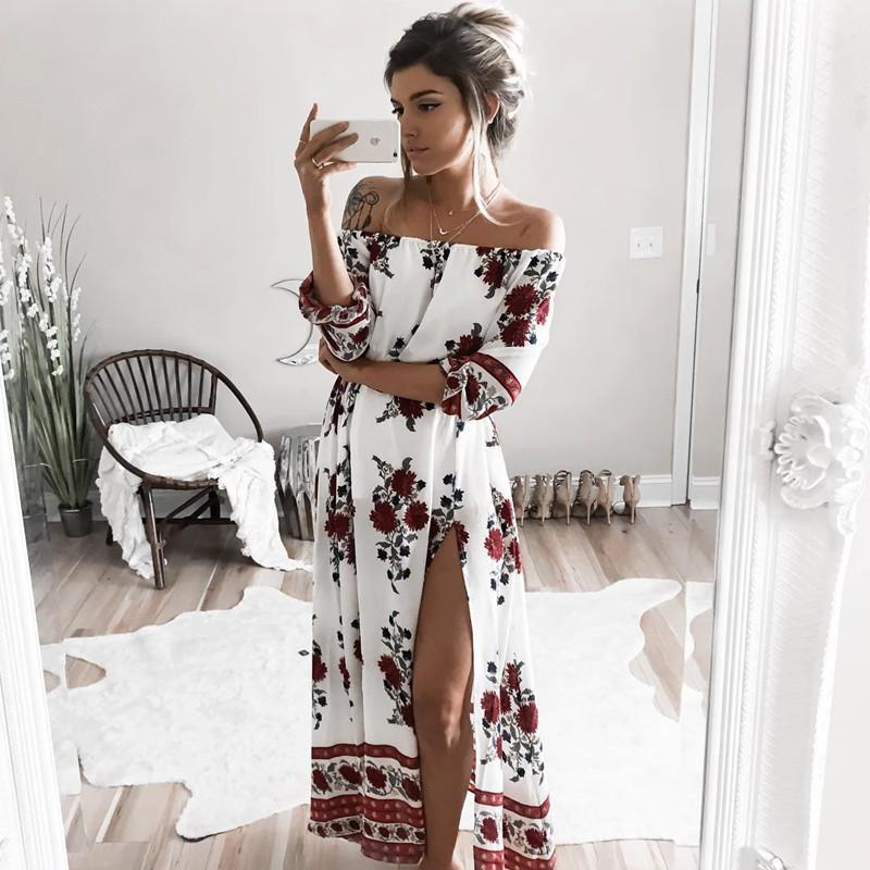5ea8d02843d9 Boho Style Summer Long Dress Women Off Shoulder Maxi Dress White Floral  Print Beach White Chiffon Dresses Vestidos De Fiesta XXL Dresses Shopping  Womens ...