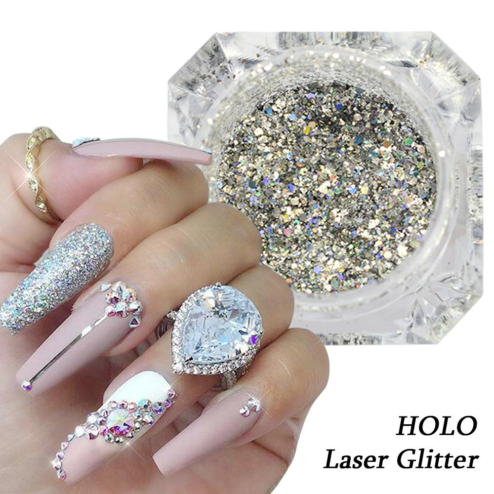 Laser Silver Nail Art Glitter Holographic Shinning Chrome Pigment Nail  Powder Decoration Shinning Tips Manicure Sabg26 Nail With Glitter Gel Nail  Glitter ... - Laser Silver Nail Art Glitter Holographic Shinning Chrome Pigment
