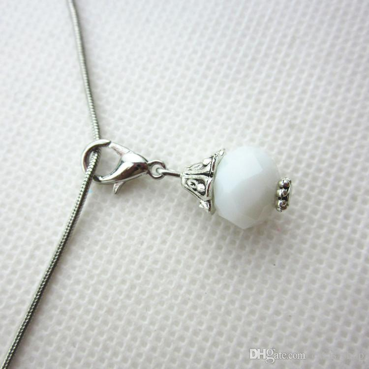 Hot selling 100/pcs white month birthstone crystal dangle charms lobster clasp charms for glass floating lockets