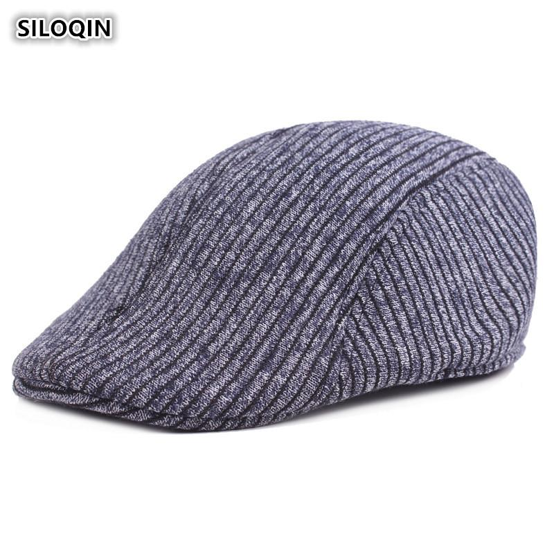 92f5f9a0ef12a SILOQIN Autumn And Winter Men's Cap Thick Warm Cotton Berets For Men Solid  Striped Middle-aged Dad's Hat Sombrero De Hombre