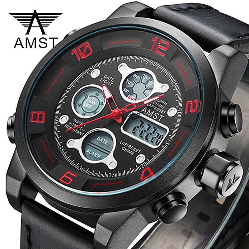 ae3ff17d5836 Compre AMST Reloj De Pulsera Digital LED Sport Relojes Para Hombre Correa  De Cuero Impermeable Reloj A Prueba De Golpes Army Watch Relogio Masculino  A ...