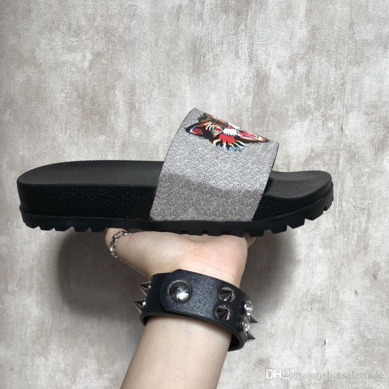 cheap low price sast for sale Slippers 2018 New Grey Fashion Luxury Sandals Men Women Slippers Tiger Cat Design Summer Huaraches slippers flip With Original Box cheap sale pay with paypal bKd5PI