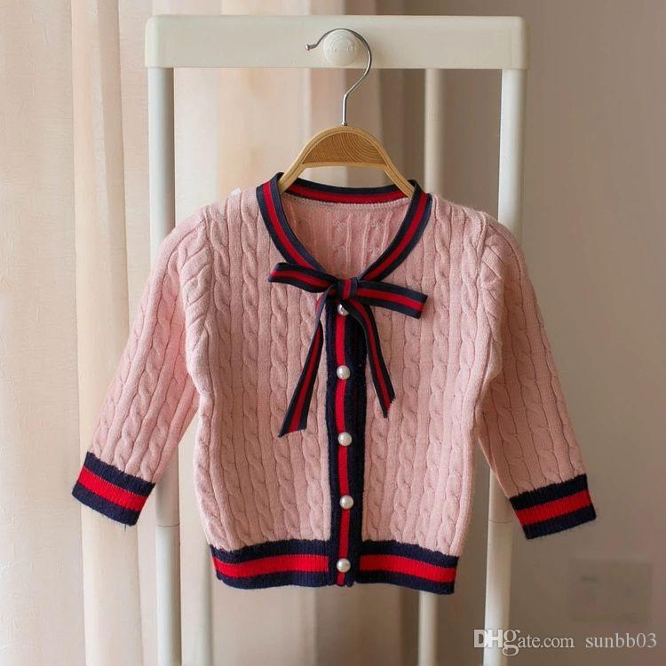 345c03e06 New Autumn Baby Girls Sweater Kids Cardigan Knitted Coat Children Lace Up  Bow Girl Princess Knitwear Sweaters 14198 Knitting Baby Boy Sweater Baby  Girl ...
