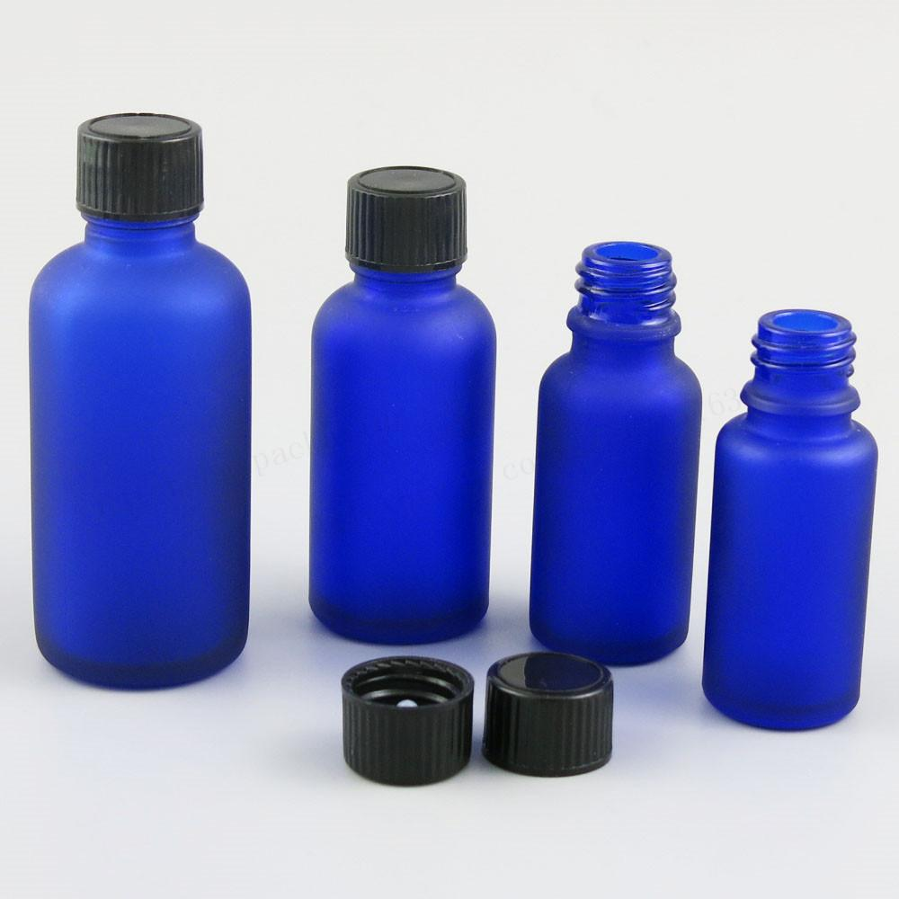 6506b916d937 12 x Refillable 100ml 50m 30ml 20ml 15ml 10ml 5ml Frost Blue Glass Bottles  with Phenolic Cone Cap Blue Cosmetic Container
