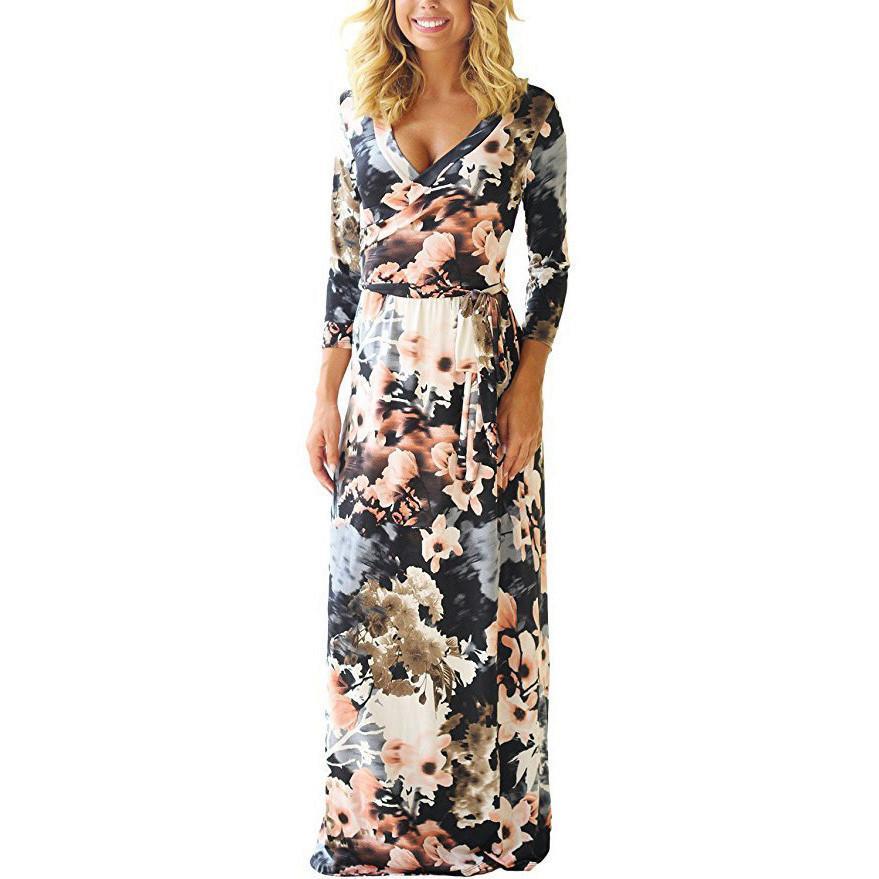 59cf9023ff85 Compre Mujeres Maxi Vestidos Largos Verano Estampado Floral Vestido De  Playa Elegante Vendaje Vestido De Fiesta Bodycon Vestidos Largos Mujer Más  Tamaño XXL ...