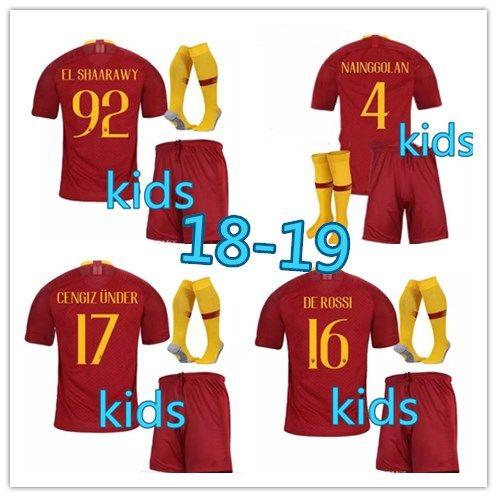0bb6e225c 18-19 Kids Rome Home Third Soccer Jerseys Totti Dzeko Nainggolan ...