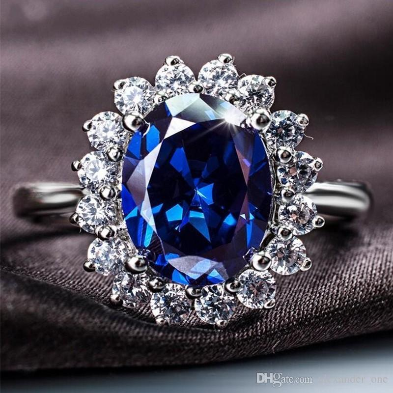 Princess Diana Wedding Ring.Princess Diana Wedding Ring Really Solid 925 Sterling Silver Oval Blue Sapphire Gemstone Rings Gift For Women Girlfriend Size 6 7 8 9
