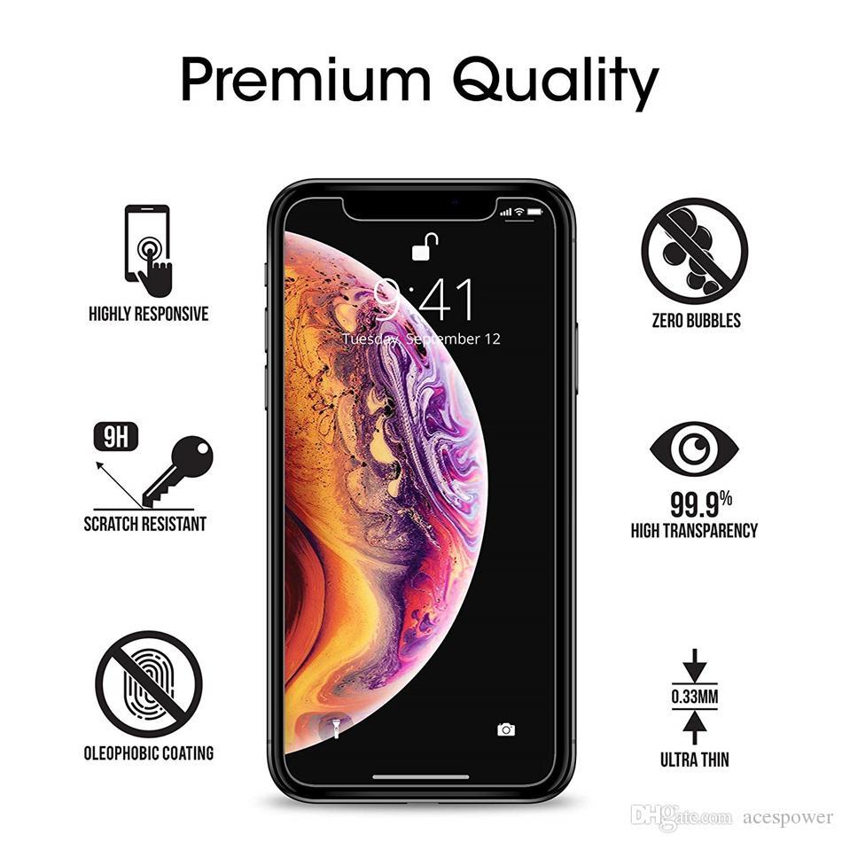Protetor de tela de vidro temperado para novo iphone 12 11 Pro XR XS máx x 8 mais Samsung Galaxy S9 LG V20 sem pacote