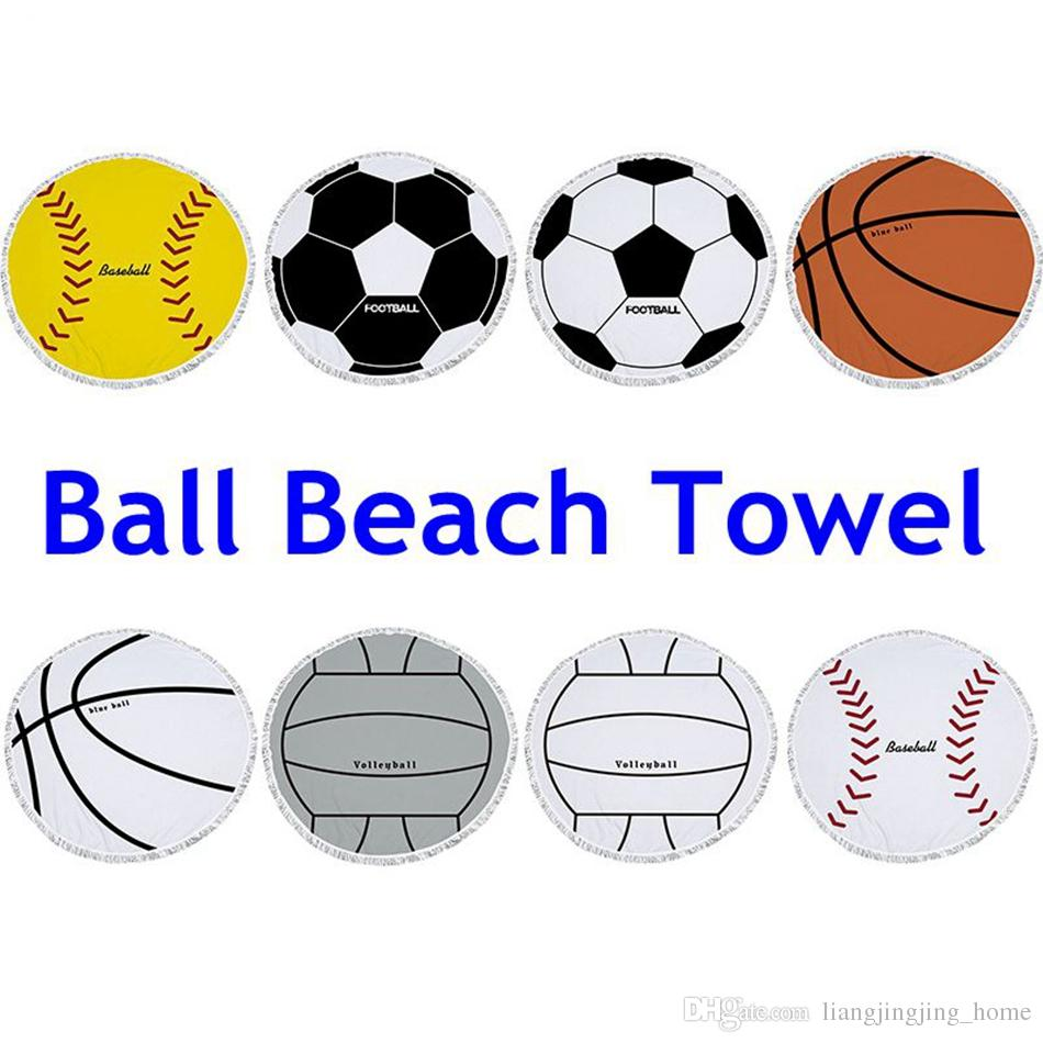 Football Large Beach Towels Balls Print Microfiber Round Tassel Golf Towel For Ball Summer Swimming Mat Carpet Ooa4374 Plush Shower From