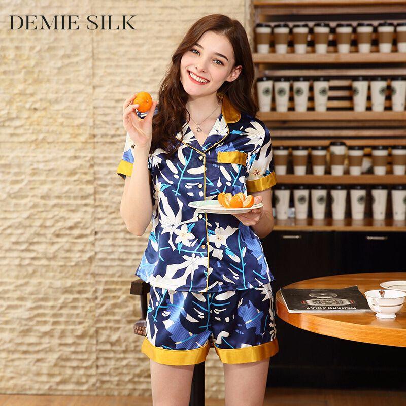 c93b1675a6 Demiesilk Women Imitation Silk Pajama Sets Summer Sleepwear with ...