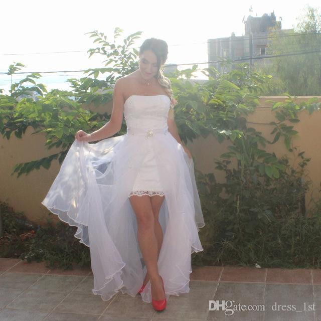 2018 Summer Short Beach Wedding Dresses Cheap Strapless Lace Applique Beads With Tulle Detachable Skirt Country Bridal Gowns EN2201