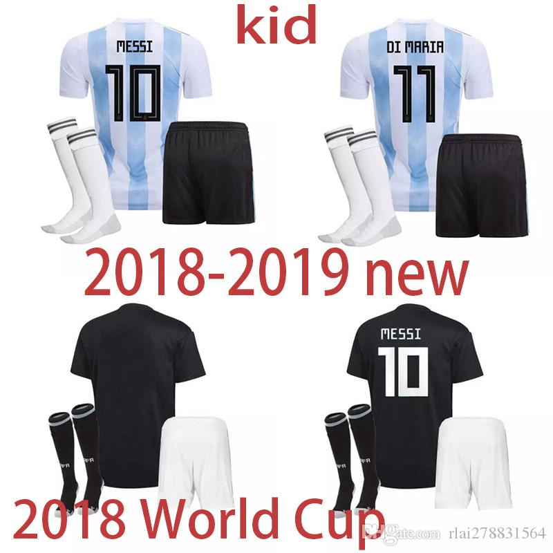 edf4ae6c956 2018 World Cup Argentina Argentina Kids Kit Home Away Soccer Jersey ...