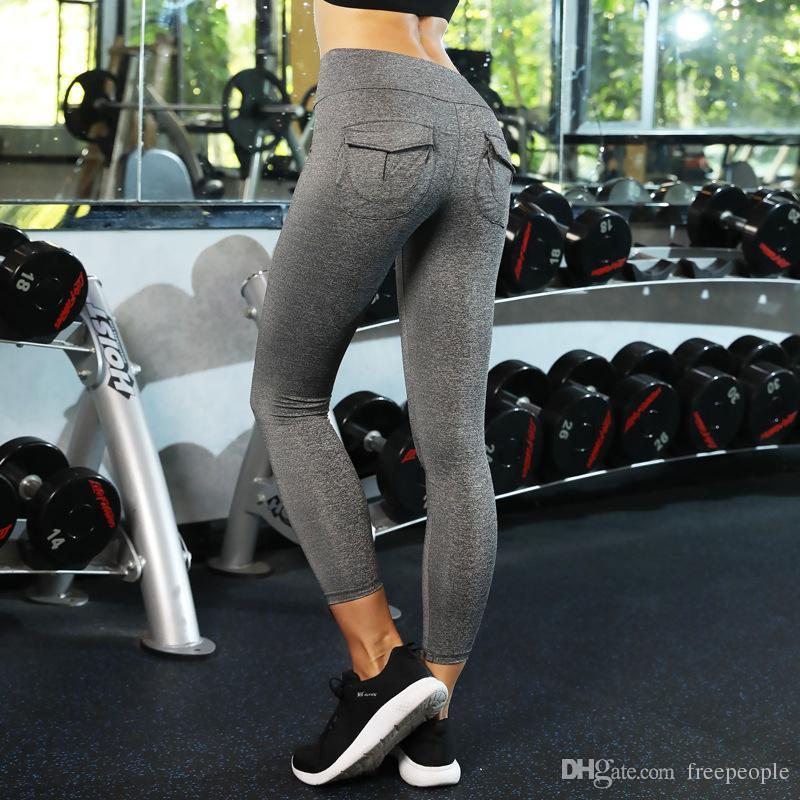 43ea164350 Women's Yoga Pant Back Pocket Workout Leggings Hip Push Up Yoga Pants  Shapewear Skinny Fittness Tights