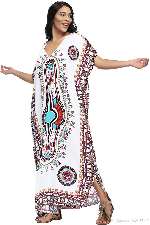 2e1187644a 2019 Charming Sexy Soft Women S White Ethnic Print Kaftan Maxi Dress Summer  Beach Dress White One Size From D980687245