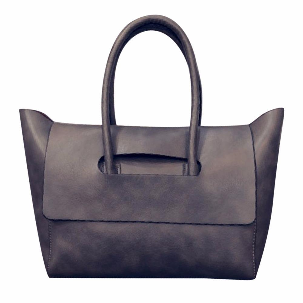 Wholesale 2016 Fashion New Women Tote Bag High Capacity Female Trapeze Tote  Famous Brand OL BUsiness PU Leather Handbags Black Brown Gray Handbag Sale  Side ... 0f7c2ea0ac
