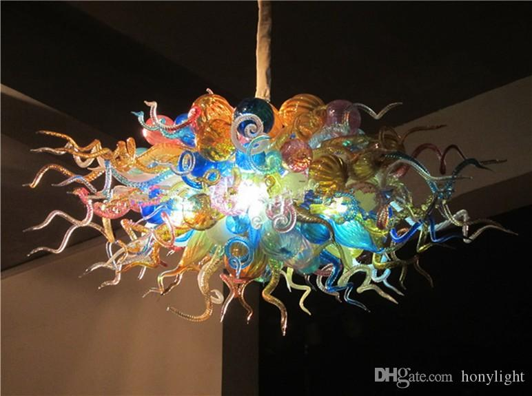 Led Chandelier Lamps Colorful Murano Glass Ceiling Chandelier High ...