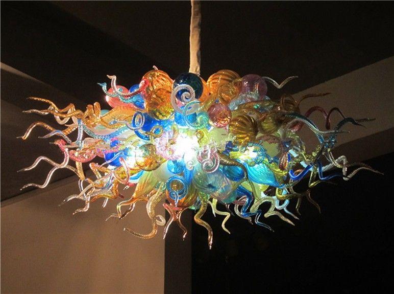 Großhandel Led Kronleuchter Lampen Bunte Murano Glasdecke Kronleuchter Hohe  Hängende Pendelleuchte Chihuly Blown Glaskugel Kronleuchter Leuchten Von ...
