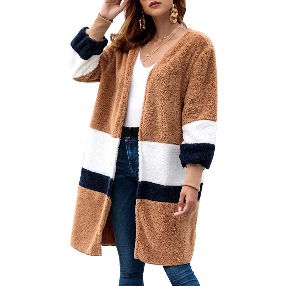 Long Cardigan Plush Sweaters Women Winter 2018 Hot Sale Striped High Street  Popular Coats Female Loose Casual Sweater Outerwear Online with  82.9 Piece  on ... 21e69f939