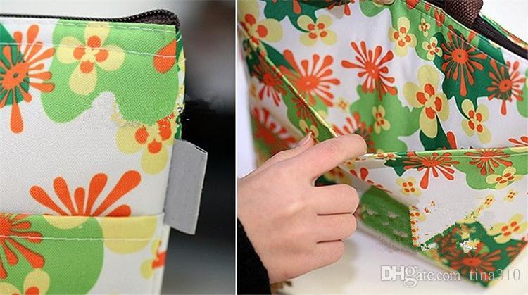 Çiçek Oxford piknik Termal çanta neopren Öğle Yemeği çantası gıda soğutucu çanta Termal kadın çanta kadın haberci çanta T2I002