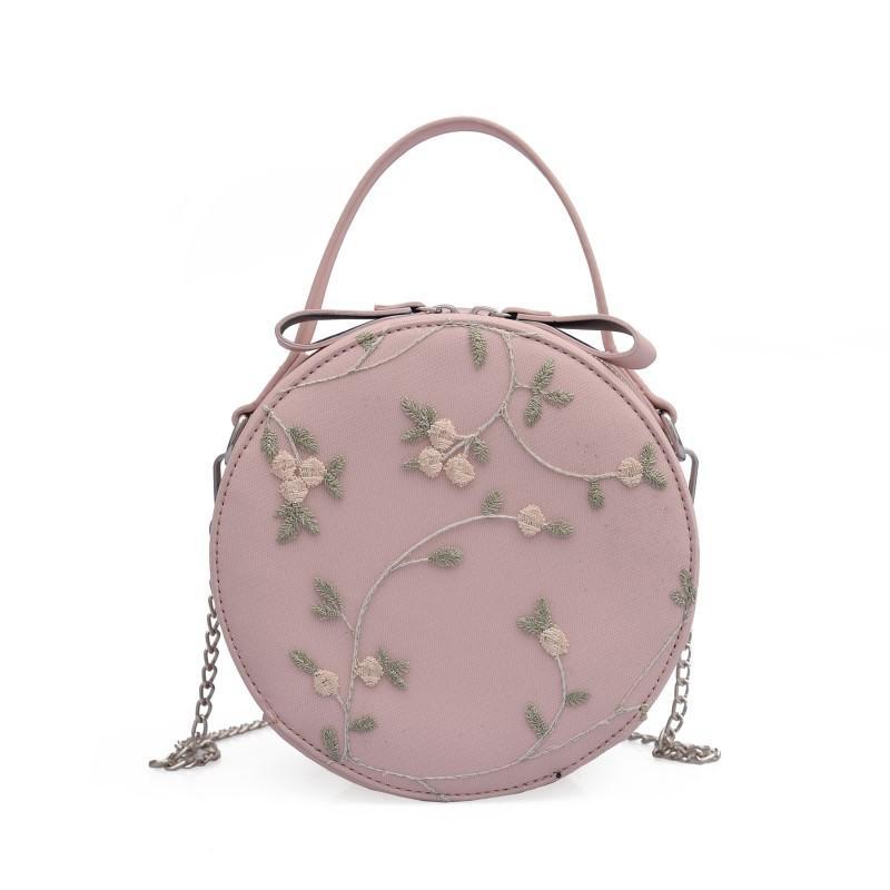 2018 New Fashion Women Crossbody Bags Round Embroidered Handbag Simple  Small Fresh Handbag Small Crossbody Bags For Women Large Handbags Black  Leather ...