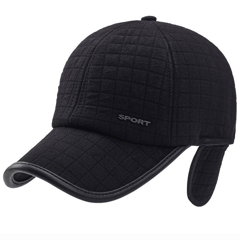 f6b371b2b5f HT1421 Winter Ear Flap Hats For Men Black Grey Adjustable Men Baseball Caps  Casual Snapback Baseball Hats Warm Thick Dad Hat Cap Snapback Caps Fitted  Hats ...