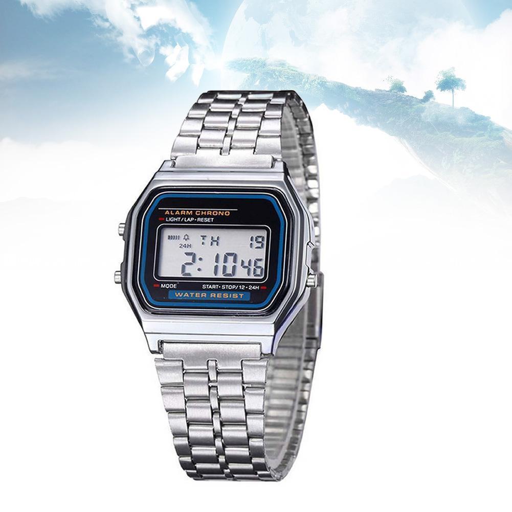 fb15c01bdd6 Compre 2018 Relógios Das Mulheres Dos Homens Do Vintage Relógio De Aço  Inoxidável Digital Alarme Cronômetro Masculino Relógio De Pulso Relogio  Masculino ...