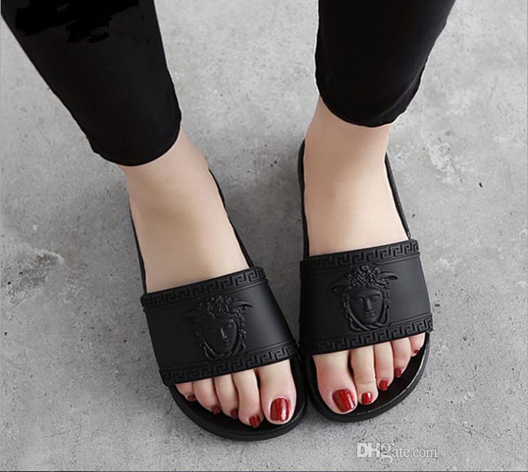 1abbfc7dada Men Medusa Sandals Designer Slides Brand Fashion Striped Sandals Scuffs  Causal Non Slip Summer Huaraches Slippers Flip Flops Slipper Skechers  Sandals Sexy ...