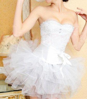 White Lace Corset Dress