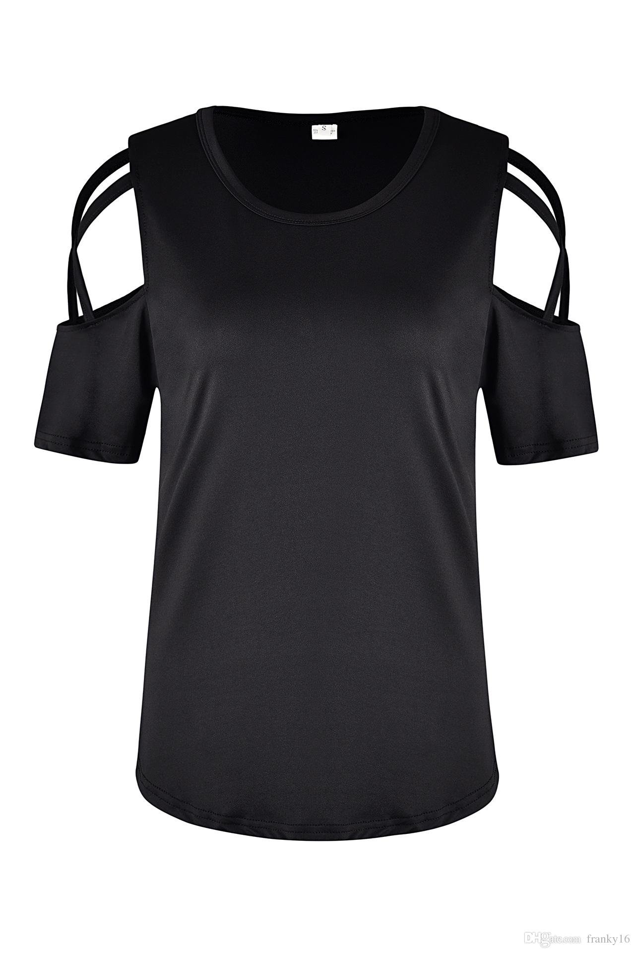 2018 Summer New Fashion Women's T Shirt Short Sleeve Solid Hole Strap Casual Cotton T-shirt Females Tops Size S-2XL