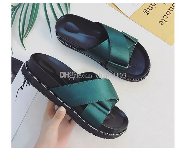 6a2c9e6c7ad6 Slipper Girl 2018 Summer Version Of The New Korean Version Of The Cross  Strap Flat Beach Shoes Students Wear The Word Lazy Tongs Wedge Shoes Womens  Sandals ...