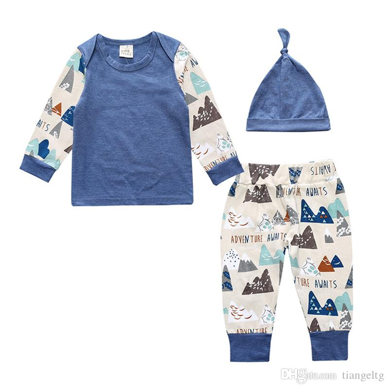 Baby Shirt Pants Hat Three-piece Clothing Sets Mountains Printed Long Sleeve Tees Baby Boy Girls Spring Autumn Suit Cotton 0-24M