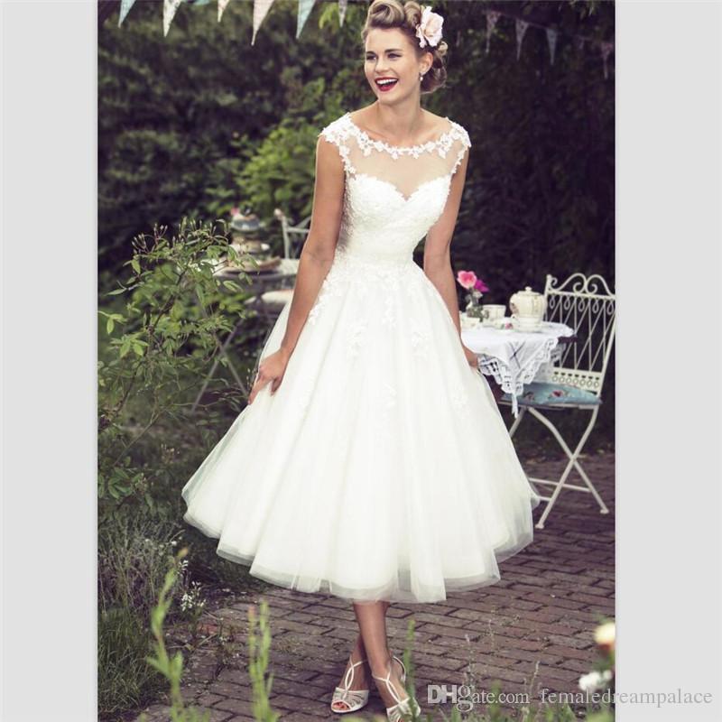 White Organza Short Country Wedding Dresses 2018 Elegant Tea Length See Through Beach Bridal Dresses Customize Cap Sleeve Bridal Gowns