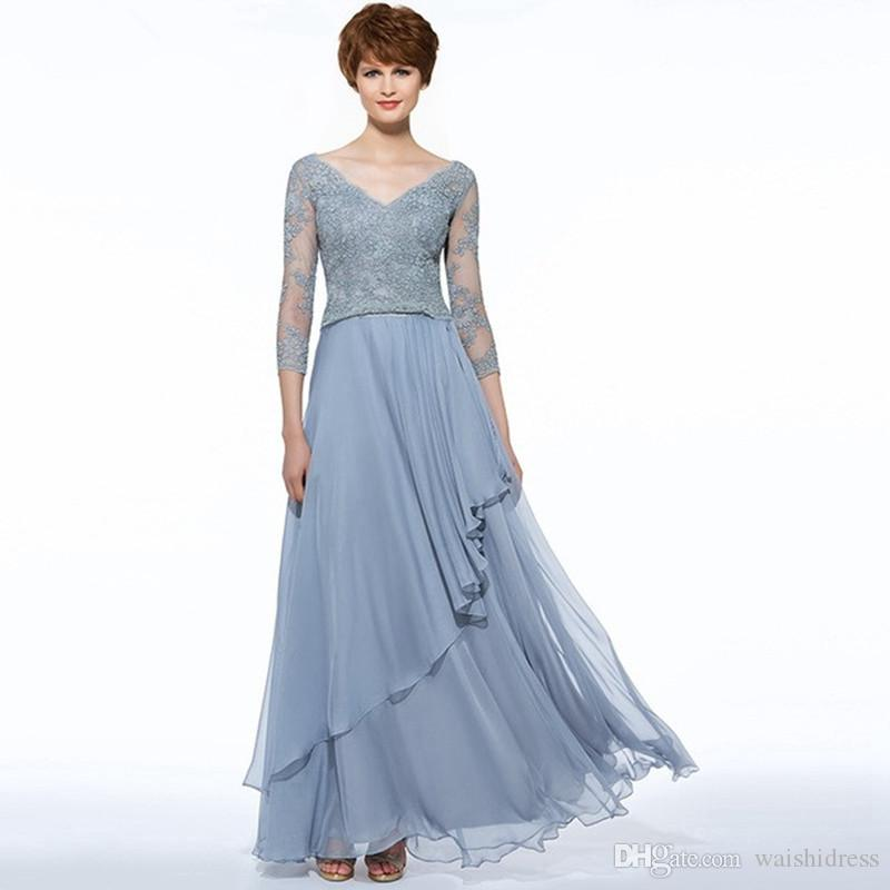 a4392069271 2018 Elegant Sky Blue Long Mother Of The Bride Dress 3 4 Sleeves Lace  Chiffon Custom Wedding Party Mother Dress Plus Size Mother Dress In Wedding  Mother ...