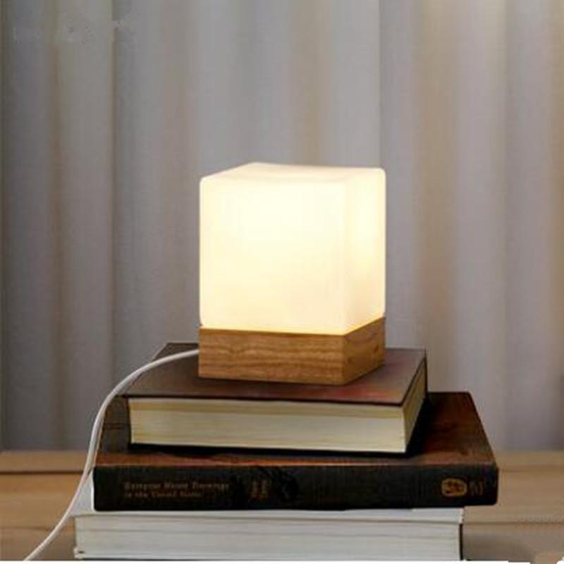 2018 Modern Table Lamp Wood Base And White Square Glass Shade Led Indoor Light Desk Bed Room Office From Cornelius 50 77 Dhgate Com