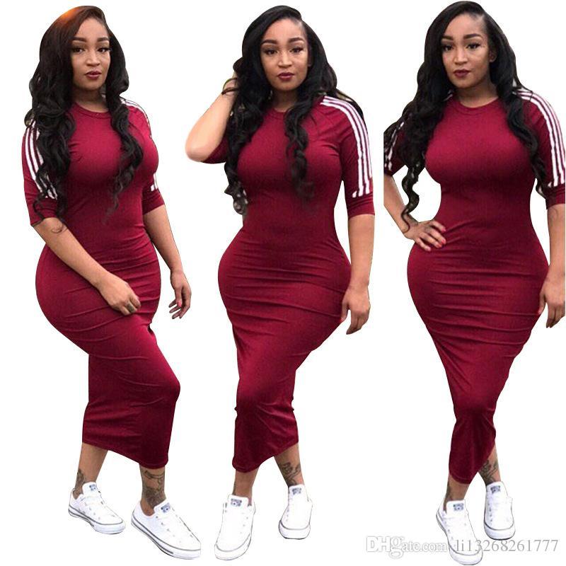 88c1f9452a97 Hot Sale White Side Stripe Streetwear Bodycon Dress 2018 Summer ...