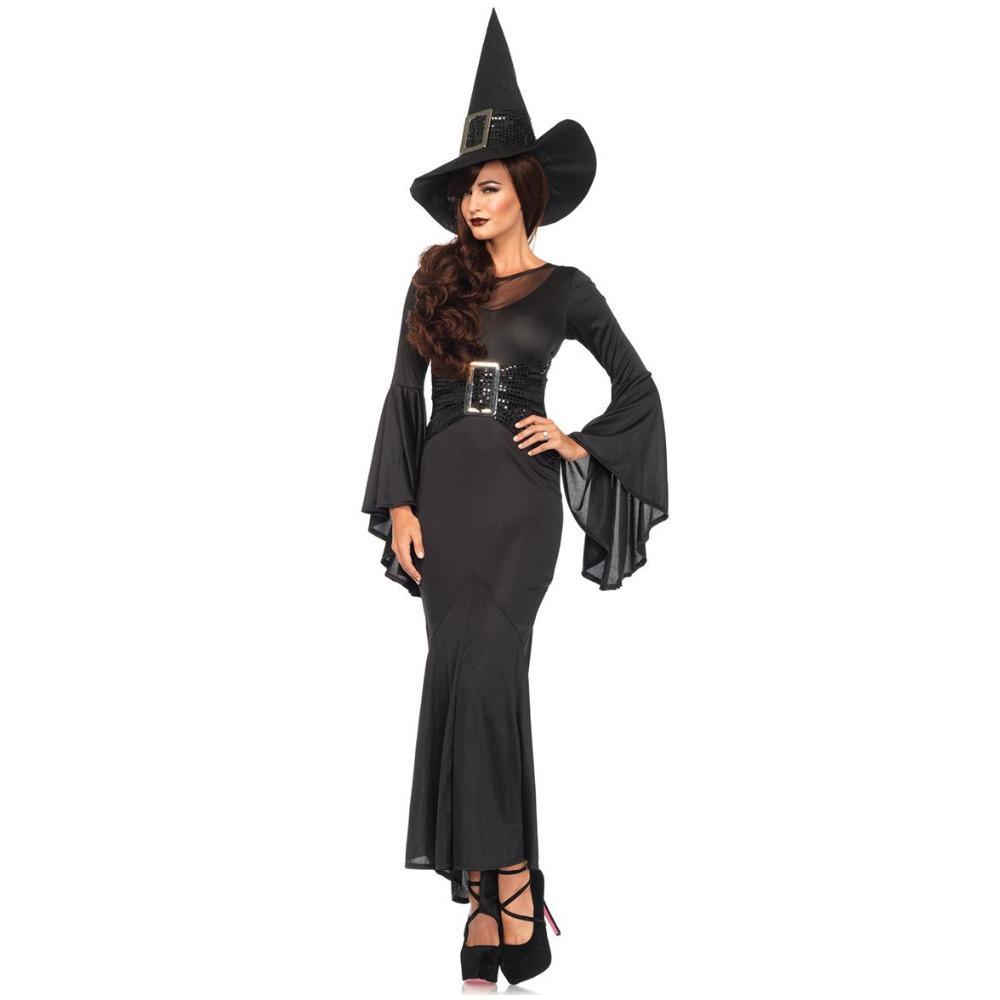 3ecc86283 Compre New Black Halloween Mulheres Bela Adormecida Bruxa Rainha Trajes  Carnaval Do Partido Cosplay Fantasia Vestido Sexy Manga Longa O Pescoço  Vestido De ...