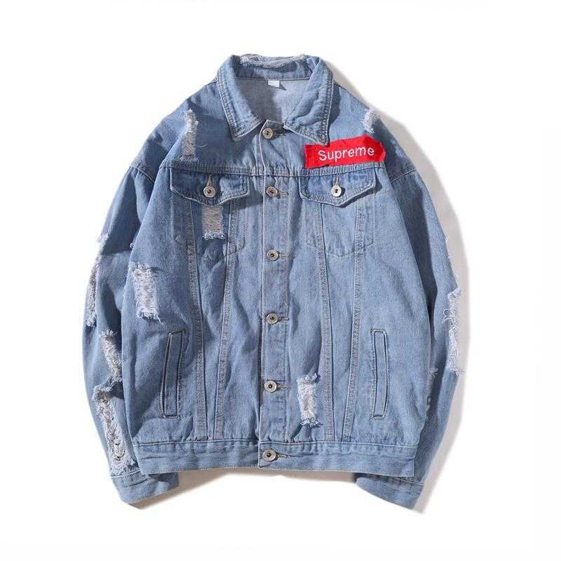 2018 Explosion Men Denim Jacket Trend Diverse Male Letter Print Jean Coat Styles Brand Designer Jacket Luxuy Long Sleeve Mens Clothing Size