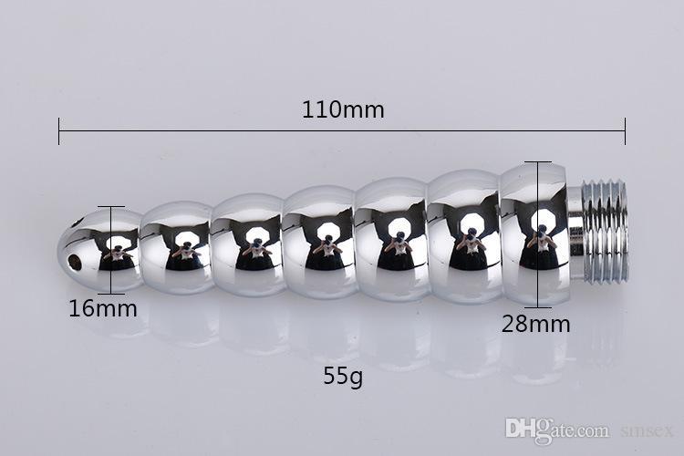 Envío libre, Ducha Douche Ano Vagina Limpieza sistema de la cabeza de la jeringa de enema de metal 7 perlas anales extremo de la punta de la boquilla de inserción