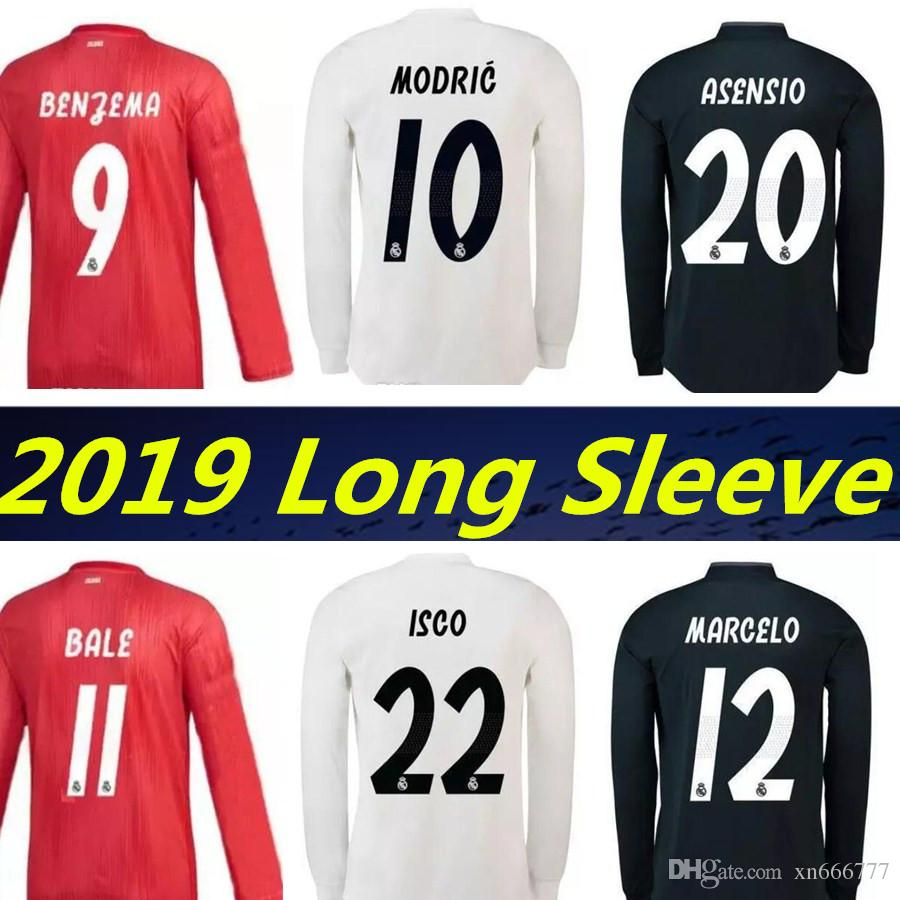 79fa56ace 2019 2019 Long Sleeve Real Madrid 3RD Red Soccer Jersey Benzema Ronaldo  ISCO ASENSIO Football Shirt 18 19 Modric Kroos Ramos Bale Marcelo Jerseys  From ...
