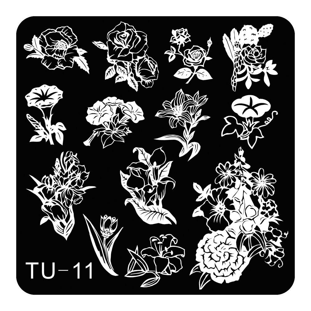 Lily Peony Flowers Theme Nail Art Stamping Template Stencil Fashion