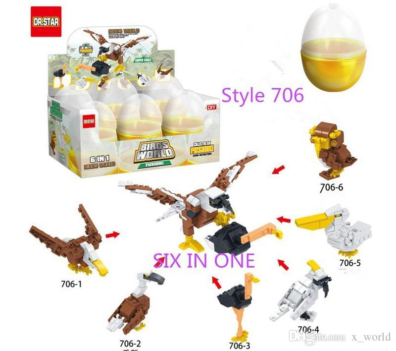 FREE DHL Hot Style SIX IN ONE Children Plastic DIY Building Blocks Gashapon Helicopter Fire engine Dragon Truck Space War Assemble toys