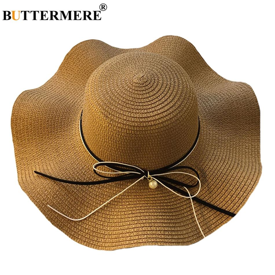 Compre BUTTERMERE Sombreros De Paja Para Mujer De Ala Ancha De Verano  Sombrero De Panamá Elegante Ladies Beach Spring Diseñador De Moda Casual  Bowknot Sun ... 84e74915f8b